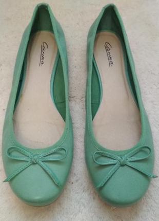 Мега удобные кожаные туфли,балетки, мокасины мятного цвета carina италия 39р