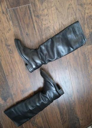 Кожаные сапоги трубы зимние