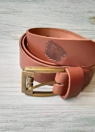 Мужской кожаный ремень коричневые львы 38 мм ( пряжка на выбор)