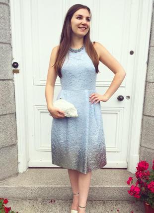 Нарядное миди платье с серебристым напылением warehouse