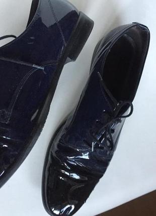 Очень качественные стильные (синие)  кожаные туфли gabor р.40