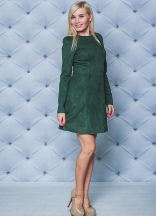 Платье короткое замшевое хаки 42-58размер