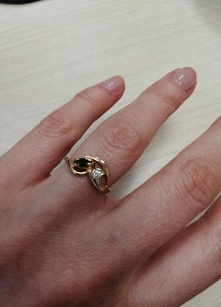 Золотое кольцо 585 вставка бриллиант изумруд