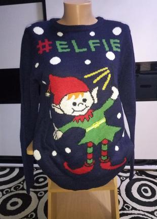 Рождественский,новогодний свитер эльф с бубенцом.#elfie