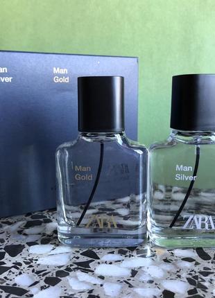 Мужские духи zara в наборе silver/gold /парфуми/туалетная вода/туалетна вода