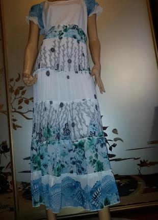Романтичное, натуральное, летнее платье-сарафан, цветочный принт, жатка 48-50-52