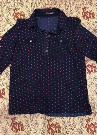 Легкая блуза в горошек 38 рр.
