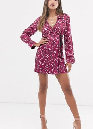 Атласное платье-рубашка, на запах с леопардовым принтом и завязкой  fashion union