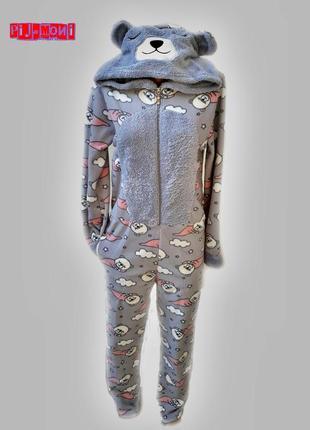 Кигуруми теплые с капюшоном на замке с карманами,цельная теплая пижама человечек турция