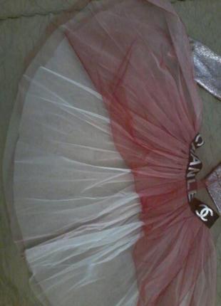 Нарядный и очень красивый костюм 3: платье с серебрянным напылением, бомпер+юбка фатиновая6 фото