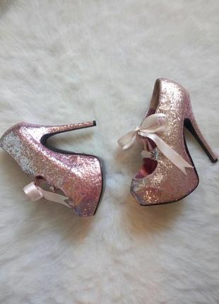 Розовые ботильйоны туфли блестящие для стрипа пулл денс атласная шнуровка высокий каблук
