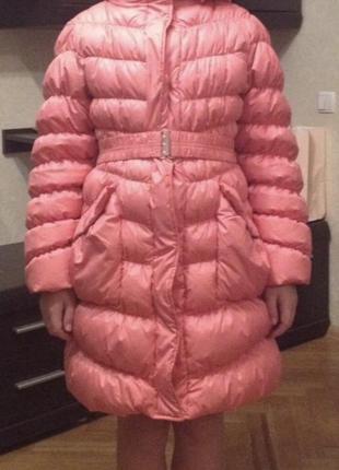 Детский пуховик куртка для девочки 9 10 11 лет