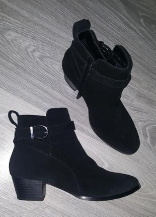 Срочно! новые 100% замша кожа брендовые ботинки сапожки деми черные 37