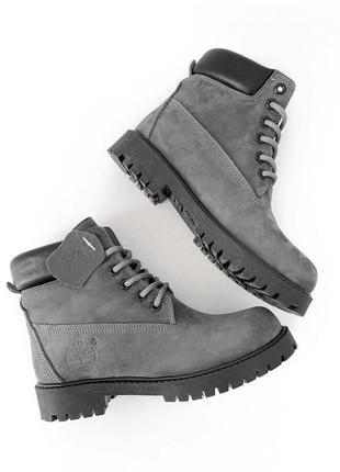 Скидка! зимние ботинки timberland premium цвет серый