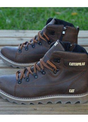 Ботинки кожаные зимние cat expensive коричневые
