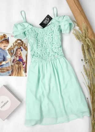 Нежное платье с открытыми плечами и гипюровым лифом dr 1952060  new look