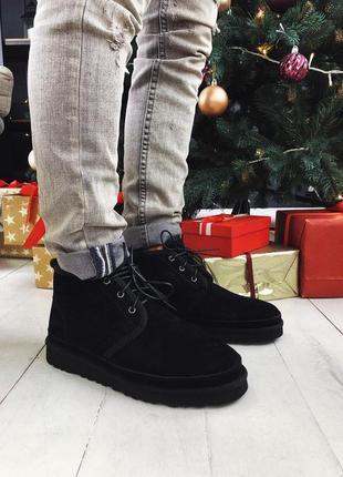Мужские чёрные зимние ботинки/уги/угги, замшевые ugg neumel black зима мех