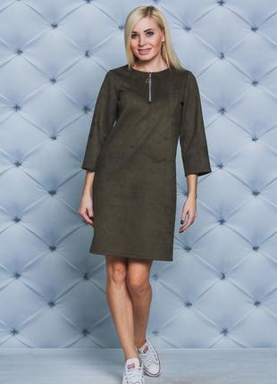 Платье женское замшевое олива 42-58размер