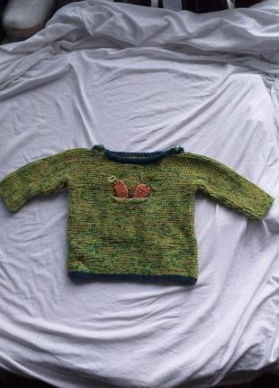 Джемпер с морковками, домашнего плетения .