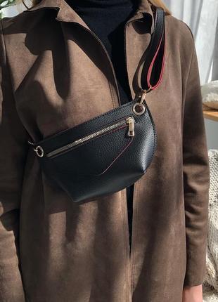 Черная поясная сумка-клатч через плечо или на пояс бананка #розвантажуюсь6 фото