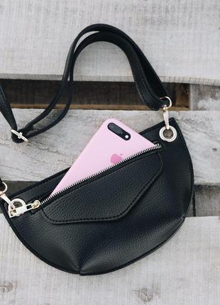Черная поясная сумка-клатч через плечо или на пояс бананка