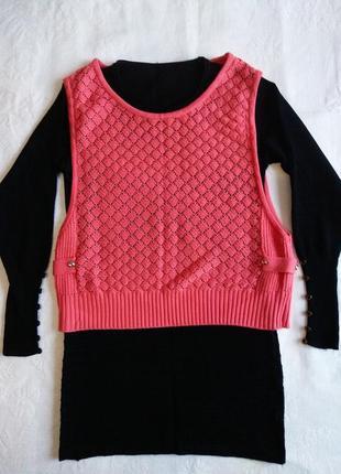 Платье-туника с жилеткой