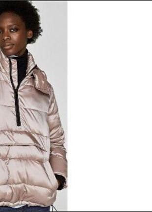 Теплая пудровая куртка анорак пуффер пуховик с капюшоном zara