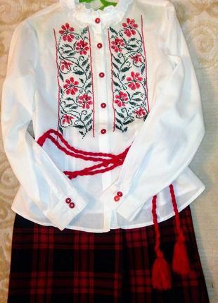 Нарядный костюм с юбкой, вышитая блуза , блуза с вышивкой, вышиванка