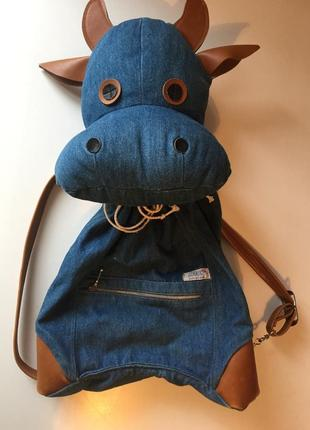 Джинсовий рюкзак джинсовый рюкзак рюкзачок коровка
