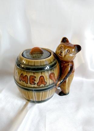 Винтажная керамическая сахарница мишка с бочонком винтаж ссср