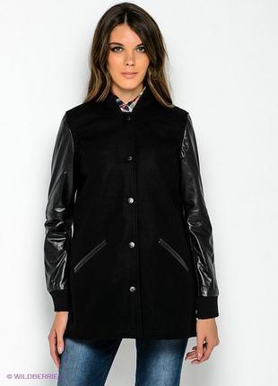 Чёрное фирменное кожаное шерстяное оверсайз пальто левайс levi's кожа бомбер