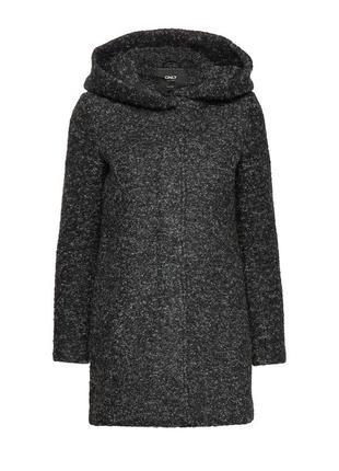 Шикарное шерстяное пальто only с большим капюшоном