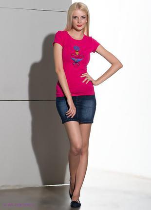 Джинсовая синяя мини юбка