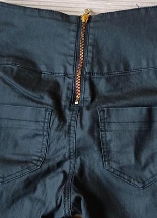 Штаны скини брюки высокая талия молния сзади темные s m