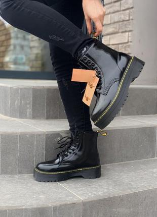 Dr.martens patent jadon fur black шикарные женские зимние ботинки с мехом лаковые мартинс