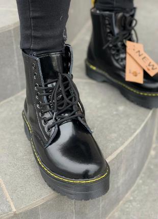Dr.martens patent jadon fur black шикарные женские зимние ботинки с мехом лаковые мартинс2 фото
