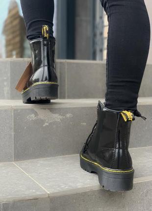 Dr.martens patent jadon fur black шикарные женские зимние ботинки с мехом лаковые мартинс4 фото