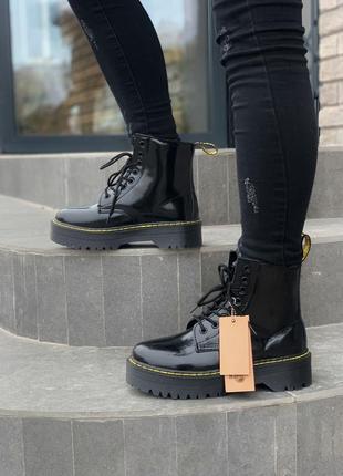 Dr.martens patent jadon fur black шикарные женские зимние ботинки с мехом лаковые мартинс6 фото