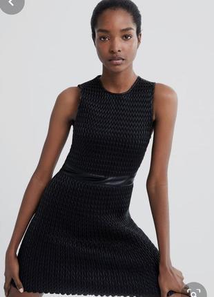 Шкіряна чорна сукня zara🎄