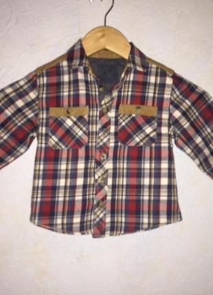 Отличная фланелевая рубашка в клетку 1,5 - 2 года
