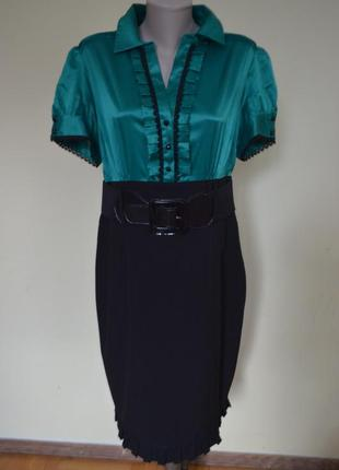Очень красивое нарядное элегантное комбинированное платье с поясом.