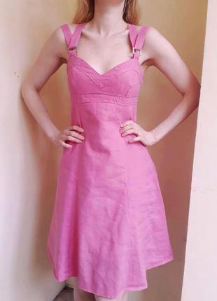Льняное платье-сарафан versace. чистый лен.