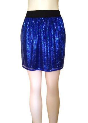 Синяя сверкающая мини юбка на резинке, ткань с паетками, универсальный размер