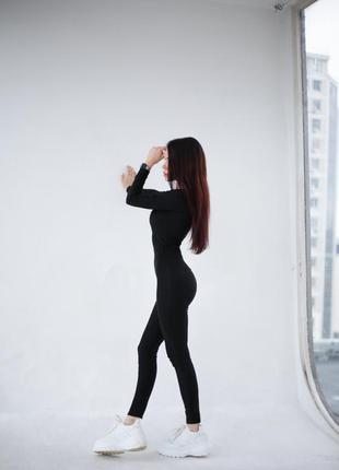 Костюм комбинезон женский чёрный обтягивающий эко замша koikawa3 фото