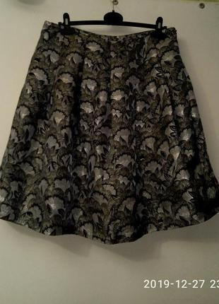 Нарядная юбка из парчи серая 12р