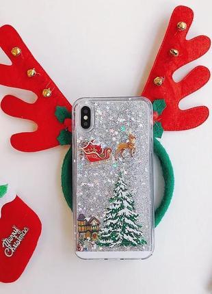 Рождественский, новогодний, зимний чехол iphone 5/5s сыпучие блестки