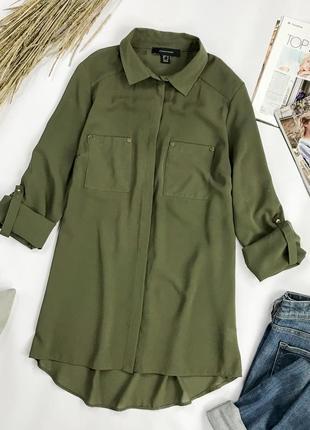 Свободная удлиненная блуза цвета хаки bl1952092  atmosphere