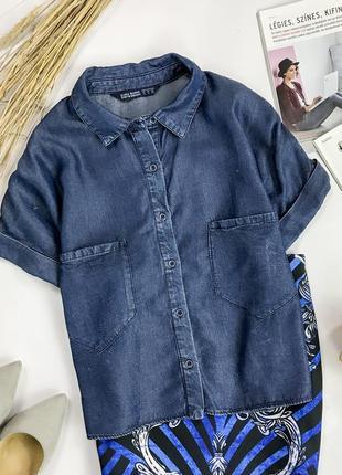 Трендовая укороченная оверсайз джинсовая рубашка  bl 1952089  zara