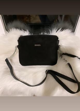 Новая замшевая сумка черная, фурнитура серебро