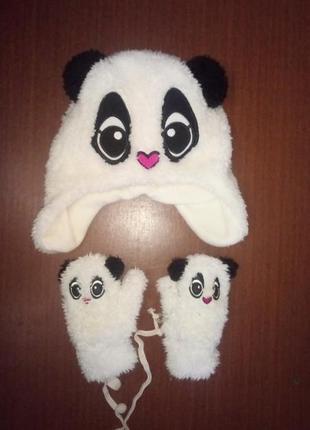Рукавички і шапка вушанка панда(варежки и шапка ушанка махра-травка)